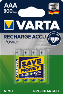 VARTA RECHARGE ACCU Power AAA 800mAh 4er Pack