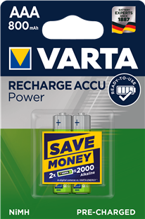 VARTA VARTA RECHARGE ACCU Power AAA 800mAh / HR 03  2er Pack