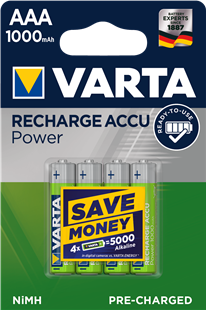 VARTA RECHARGE ACCU Power AAA 1000mAh / HR03 4er Pack