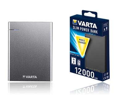 VARTA Portable Slim Power Bank 12000+charging cable,12000mAh