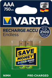 VARTA RECHARGE ACCU Endless AAA 750mAh / HR3 / 2er Pack