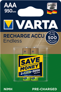 VARTA RECHARGE ACCU Endless AAA 950mAh / HR3 / 2er Pack