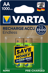 VARTA RECHARGE ACCU Endless AA 1000mAh / HR6 / 2er Pack