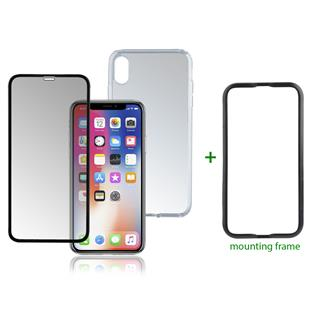 4smarts 360° Premium Protection Set mit Colour Frame Glas & Easy-Assist für Apple iPhone Xs Max schw