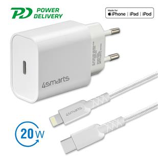 "4smarts Schnelllade-Set 20W mit 1,5m Lightning Kabel ""Made for iPhone und iPad"""
